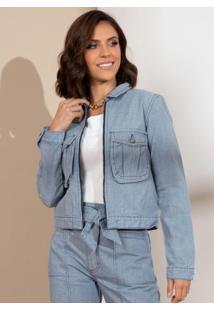 Jaqueta Cropped Em Jeans Sustentável Com Bolsos