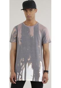 Camiseta Longa Estampada De Coqueiros Marrom