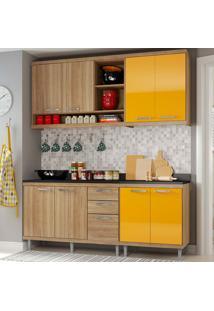 Cozinha Compacta 4 Peças Com Tampo 5819-S10T - Sicília - Multimóveis - Argila / Amarelo