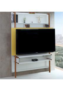 Painel Karl Para Tv Até 60 Polegadas Branco/Amarelo - Woodinn