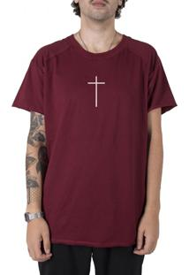 Camiseta Stoned Longline Gold Faith Bordô