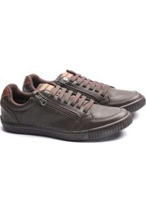 Sapatenis Ped Shoes Zíper Lateral Masculino - Masculino-Marrom