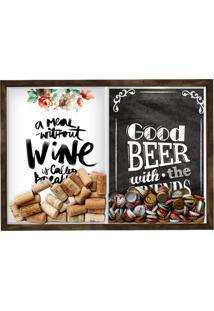 Quadro Caixa Porta Rolha Vinho E Tampinha Cerveja (2 Em 1) 33X43 Cm Nerderia E Lojaria Breakfast E Good Beer Black Madeira