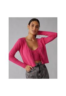 Amaro Feminino Cardigan Tricot Canelado, Pink