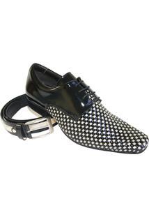 Sapato Social Gofer Verniz - Masculino-Preto+Branco