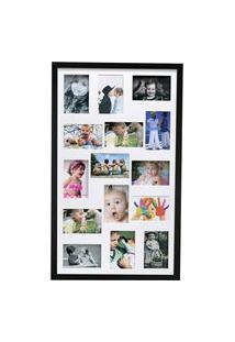 Painel Quadro Multifotos 15 Fotos 10X15 C/ Profundidade Moldura Caixa Preto Com Branco
