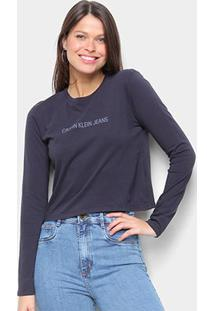 Blusa Cropped Calvin Klein Logo Manga Longa Feminina - Feminino-Marinho