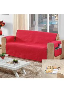 Kit 2 Protetores De Sofá: 2 E 3 Lugares Impermeável Casa Dona Vermelho