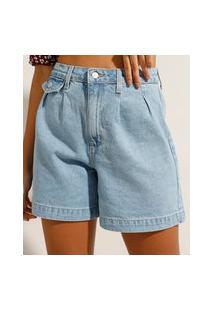 Bermuda Jeans Com Pregas Cintura Super Alta Azul Claro