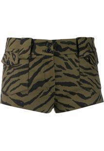 Saint Laurent Zebra Pattern Short Shorts - Verde