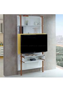 Estante Home Theater Para Tv Até 42 Polegadas Karl 180 X 99,8 X 25,5 Branco/Amarelo - Urbe Móveis