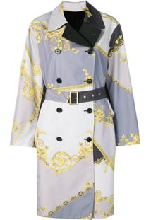 Versace Collection Trench Coat Dupla Face Com Estampa Barroca - Cinza