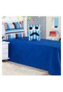 Cobre Leito Solteiro Life Kids Sr. Bigode Azul Ione Enxovais 3 Peças