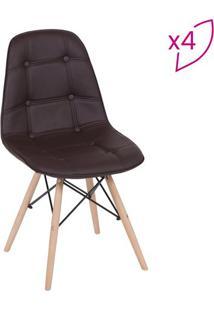 Jogo De Cadeiras Eames Botonãª- Cafã© & Madeira Clara-Or Design
