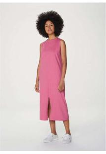 Vestido Midi Básico Com Fenda Rosa