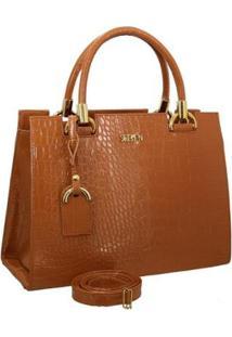 Bolsa Handbag Textura Croco Zíper Alça Transversal Dia A Dia - Feminino-Marrom