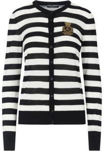 Dolce & Gabbana Cardigan Com Aplicação De Listras - Preto