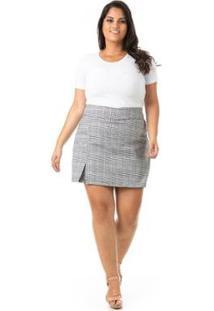 Shorts Saia Xadrez Plus Size Confidencial Extra Feminino - Feminino-Cinza