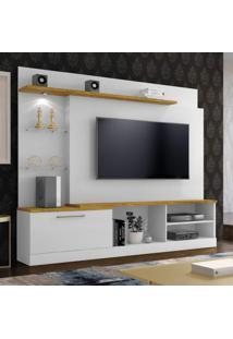 """Estante Home Theater Para Tv Até 65"""" Flórida Plus Mavaular Branco Ab/Mel"""