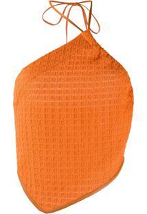 Nanushka Blusa Frente Única Texturizada - Laranja