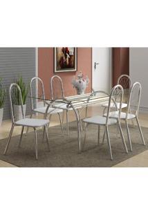 Mesa 379 Com Vidro Incolor Cromada Com 6 Cadeiras 182 Branca Carraro