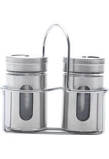Conjunto 3 Peças Saleiro E Pimenteiro De Aço Inox E Vidro Pointer - Bon Gourmet - Transparente