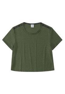 T-Shirt Malwee Manga Curta Em Viscolycra Verde