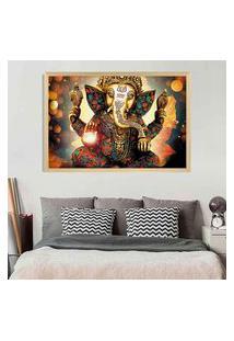 Quadro Love Decor Com Moldura Lord Ganesha Madeira Clara Grande