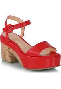 Sandália Plataforma Couro Vermelha Detalhe Cortiça