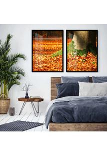Quadro 65X90Cm ÁRvores Com Folha De Outono Moldura Preta Sem Vidro - Multicolorido - Dafiti