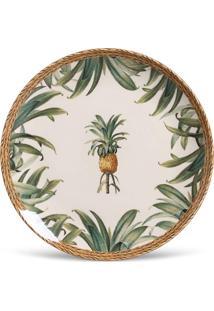 Conjunto 6Pçs Pratos Rasos Porto Brasil Coup Pineapple Branco/Bege