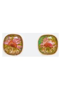 Brinco Pequeno Quadrado Com Resina E Flores Seca | Accessories | Dourado | U