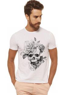 T-Shirt Joss Caveira Flor Branca