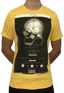 Camiseta Kzs Caveira Soul Gola Redonda Amarela
