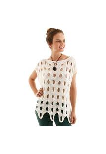 Blusa Tricot Ponto Vazado Off- White