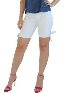 Bermuda Rosa Line Jeans Com Laço Branca