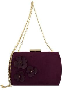 Bolsa Clutch Le Diamond Flowers Vinho
