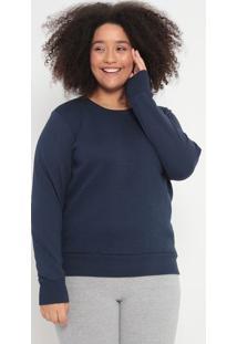 Blusão Em Moletom Texturizado- Azul Marinho- Malweemalwee