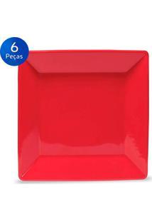 Conjunto De Pratos Fundos 6 Peças Quartier Red - Oxford Vermelho