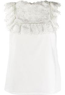 Redvalentino Blusa Com Renda Floral - Branco