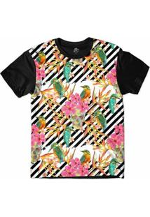 Camiseta Bsc Padrões E Listras Pássaros E Caveiras Sublimada Masculina - Masculino-Branco+Preto
