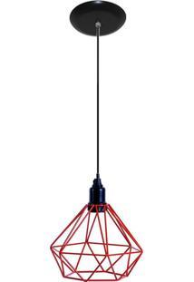 Luminaria Pendente Aramado Modelo Diamante Vermelho