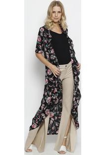 Kimono Texturizado Floral - Preto & Rosa- Linho Finolinho Fino