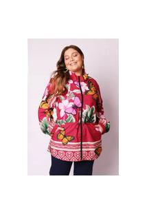 Jaqueta Almaria Plus Size Munny Parka Estampada Vermelho