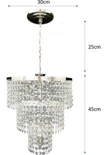 .Lustre Pendente De Cristal Acrílico Alto Brilho 30X70 Lina Design Ac18 - Kanui