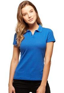 Camisa Polo Basicamente Tradidiconal Feminina - Feminino-Azul Claro