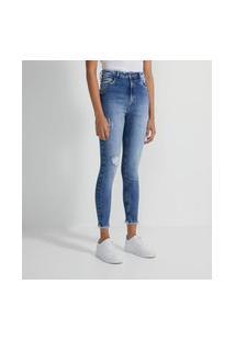 Calça Push Up Jeans Com Puídos E Barra Desfiada