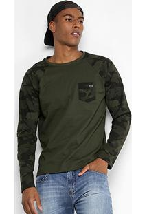 Camiseta Sba Manga Longa Camuflada Masculina - Masculino