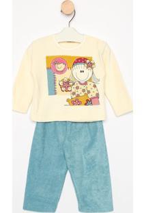 Pijama Manga Longa & Calã§A- Bege & Azulsonhart