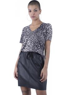Blusa Manga Curta Animal Print Pop Me Cinza